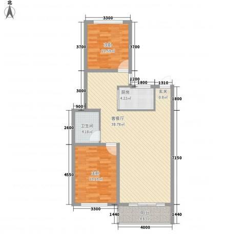 北方新天地2室1厅1卫1厨111.00㎡户型图