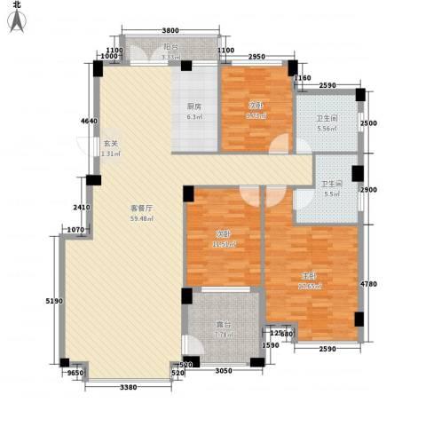 香格里拉花园二期3室1厅2卫0厨147.00㎡户型图