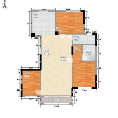 香格里拉花园二期3室1厅2卫0厨99.59㎡户型图