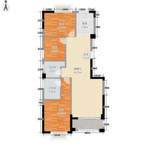 香格里拉花园二期3室1厅2卫0厨115.00㎡户型图