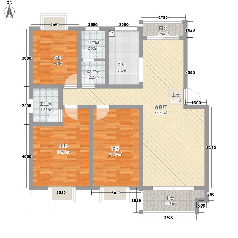 乐活美域3136.57㎡户型3室2厅2卫1厨