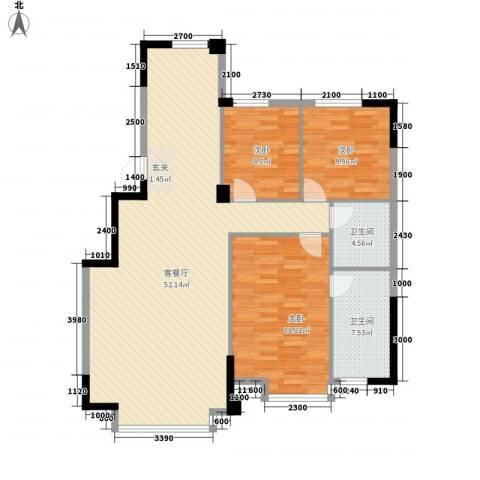 香格里拉花园二期3室1厅2卫0厨121.00㎡户型图