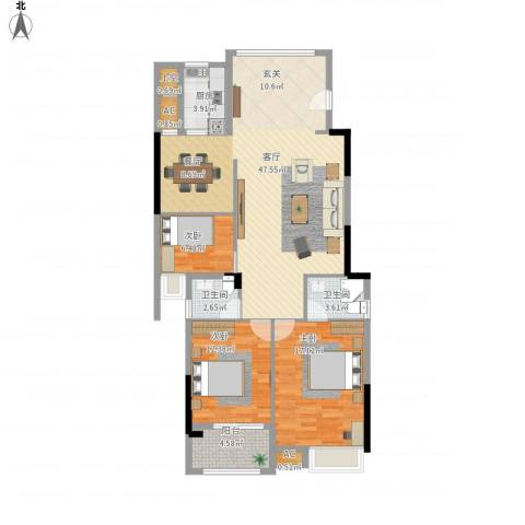 锦绣江南3室1厅2卫1厨141.00㎡户型图