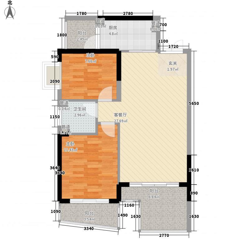 桃源居86.00㎡C5、C8套平面图8690户型2室2厅1卫1厨