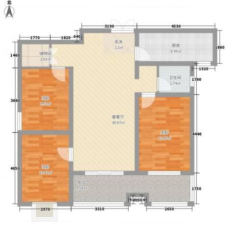 东盛・公园1号3室1厅1卫1厨122.00㎡户型图
