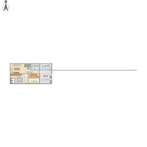 锦富花园2室1厅2卫1厨78.00㎡户型图