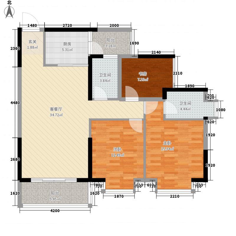锦达・香格里拉1.41㎡二期1#楼03、042+户型3室2厅2卫1厨