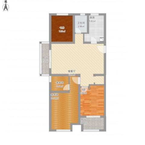 常发御龙山2室1厅1卫1厨116.00㎡户型图