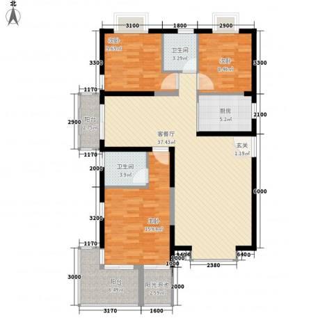 凤凰水城红树湾3室1厅2卫1厨127.00㎡户型图