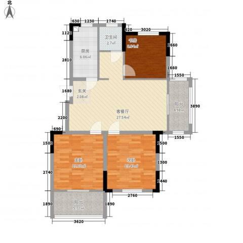 东南郡3室1厅1卫1厨118.00㎡户型图
