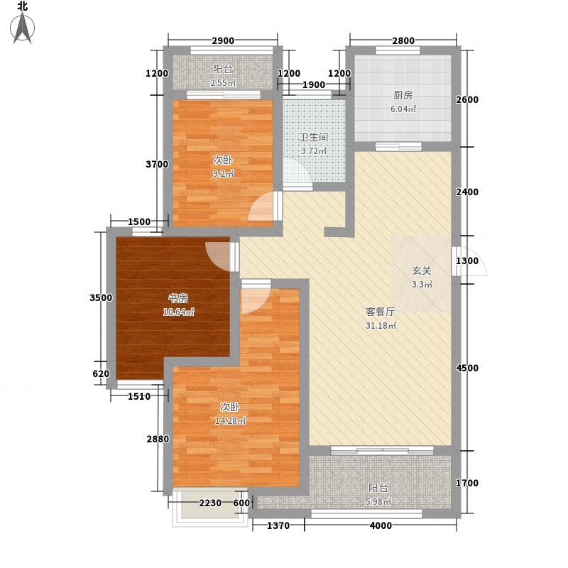 新里・西斯莱公馆121.87㎡1#楼03、04户型3室2厅1卫1厨