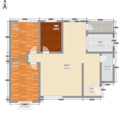 上泰绅苑3室1厅1卫1厨148.00㎡户型图