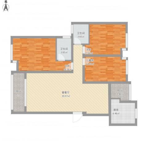 荷塘月色3室1厅2卫1厨152.00㎡户型图