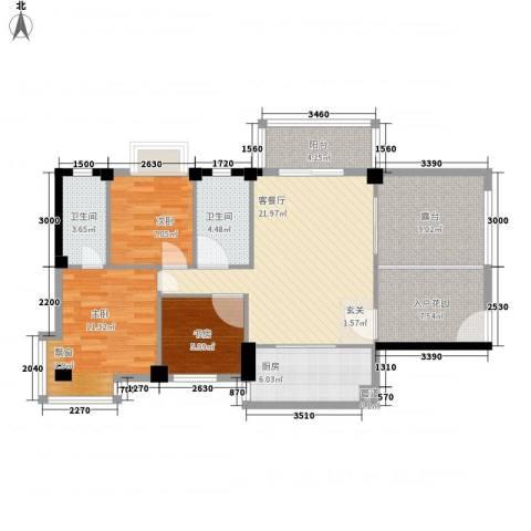 金岸领寓3室1厅2卫1厨116.00㎡户型图