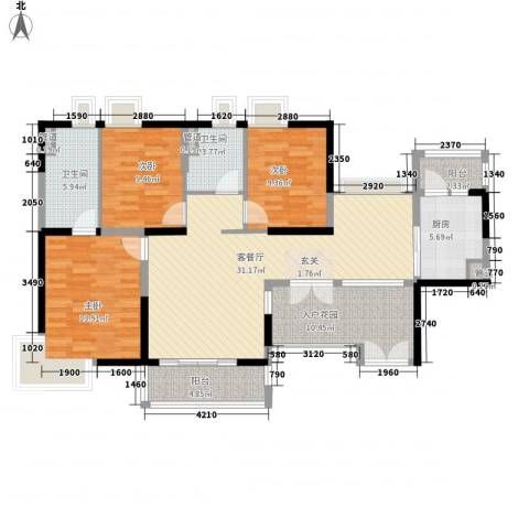 天林湖花园3室1厅2卫1厨141.00㎡户型图