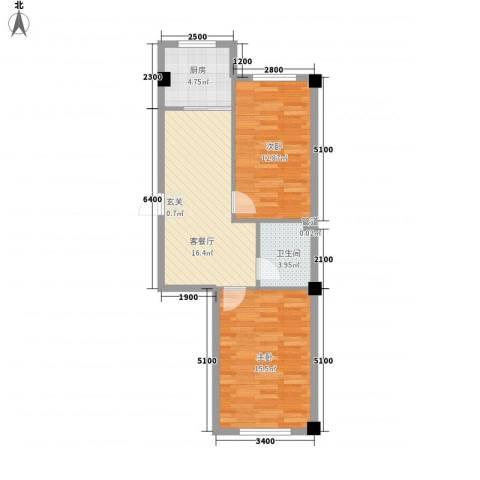 弘福俪景2室1厅1卫1厨78.00㎡户型图