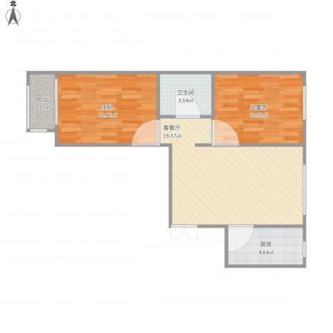 金隅汇景苑2室1厅1卫1厨56.05㎡户型图