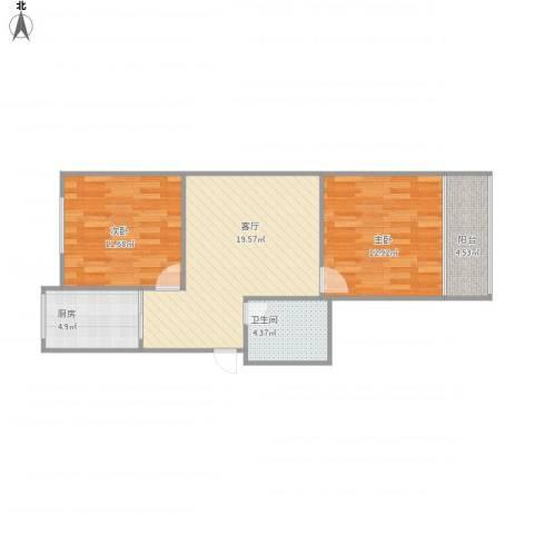 七里堡小区2室1厅1卫1厨78.00㎡户型图