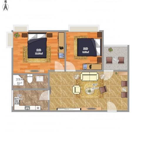 新街口A栋两房2室1厅1卫1厨72.00㎡户型图