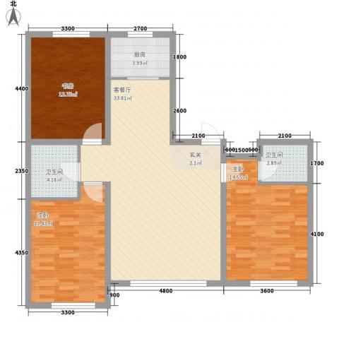 鑫城广场3室1厅2卫1厨123.00㎡户型图