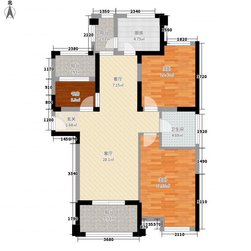 国购广场・心城11.00㎡B-4户型3室1厅1卫1厨