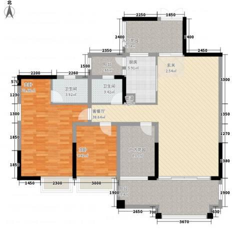 人和春天花园2室1厅2卫1厨135.00㎡户型图