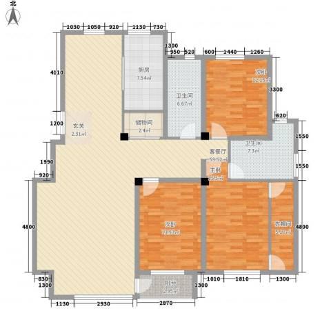 广厦新城3室1厅2卫1厨133.14㎡户型图
