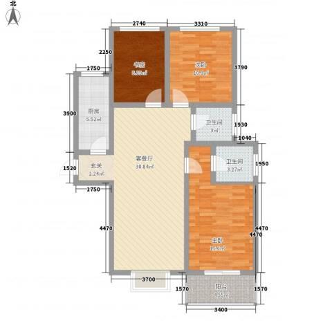 九�倾城3室1厅2卫1厨119.00㎡户型图