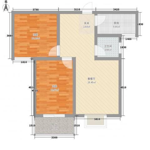 九�倾城2室1厅1卫1厨62.79㎡户型图