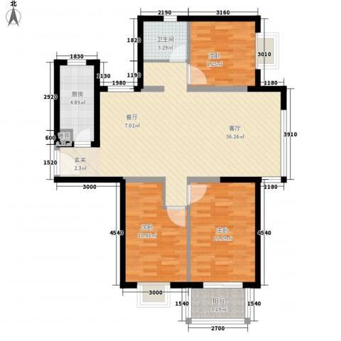 隆兴宜居3室1厅1卫1厨113.00㎡户型图