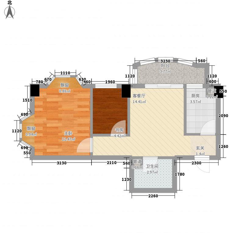 兴安名城II期中央城市广场2A#楼06单元2室户型2室1厅1卫1厨