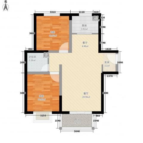 隆兴宜居2室1厅1卫1厨62.40㎡户型图