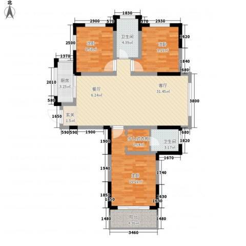 东方今典3室1厅2卫1厨80.58㎡户型图