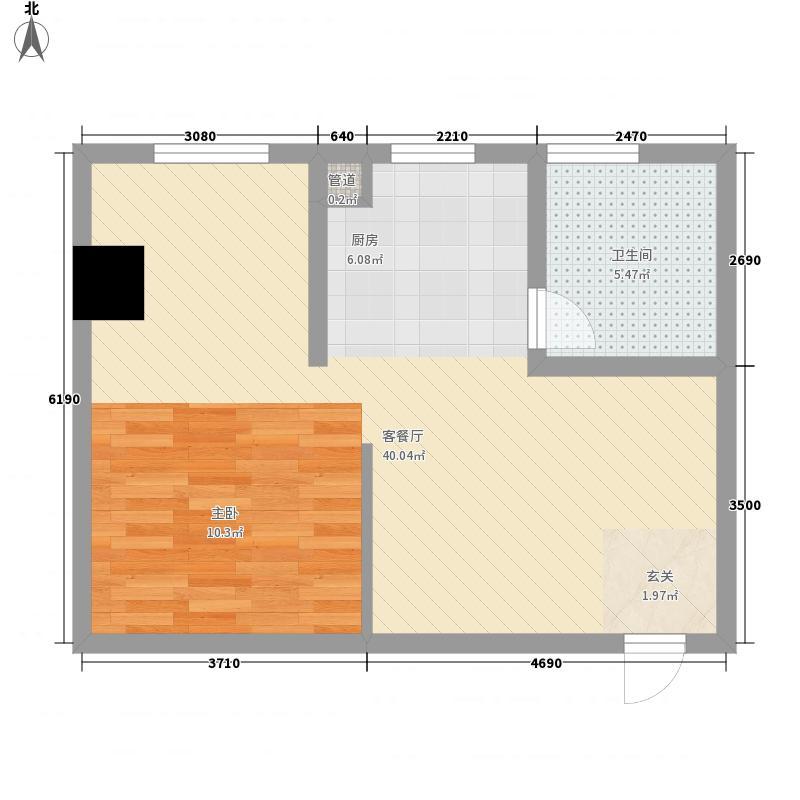 景江苑65.00㎡户型1室
