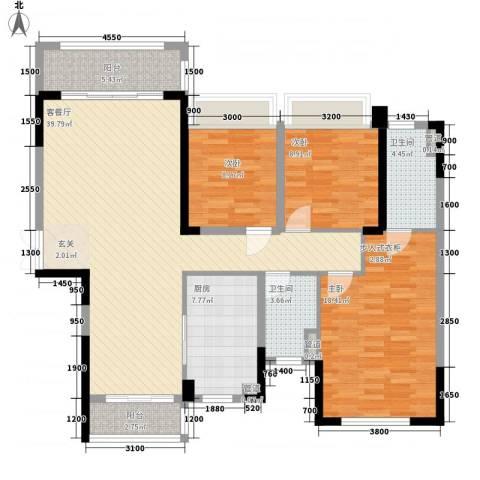 绿茵温莎堡香堤3室1厅2卫1厨129.00㎡户型图