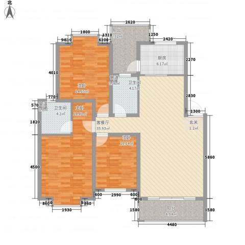 弘雅花园二期3室1厅2卫1厨151.00㎡户型图
