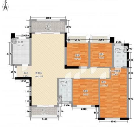 绿茵温莎堡香堤4室1厅2卫1厨104.64㎡户型图