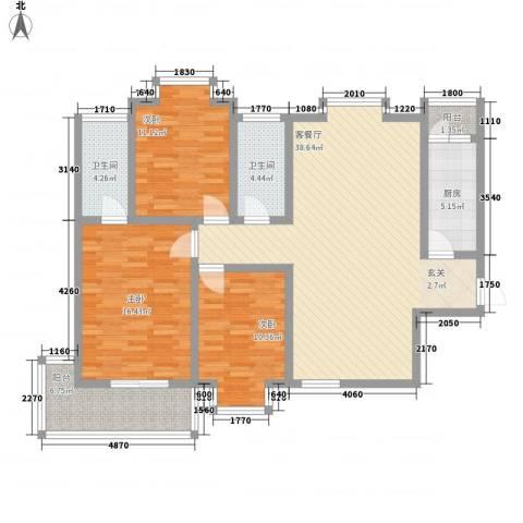 时尚Party3室1厅2卫1厨142.00㎡户型图