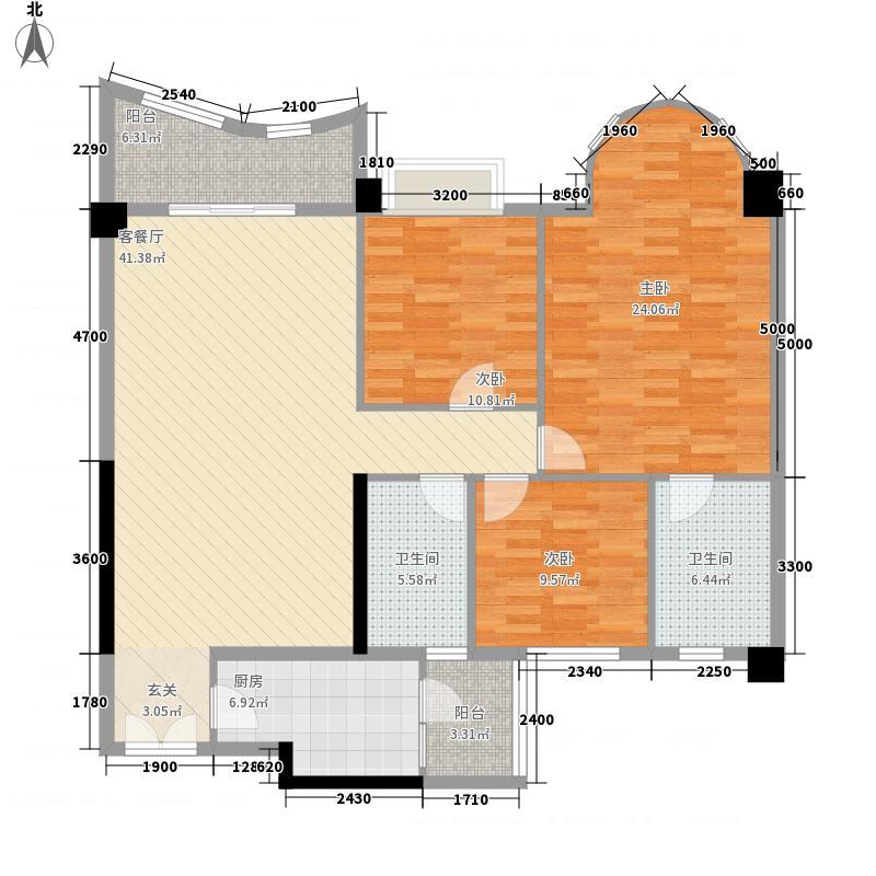 群英华庭135.00㎡户型3室2厅2卫1厨