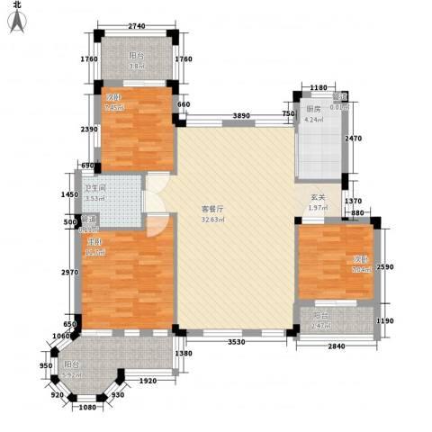 幸福时光3室1厅1卫1厨112.00㎡户型图