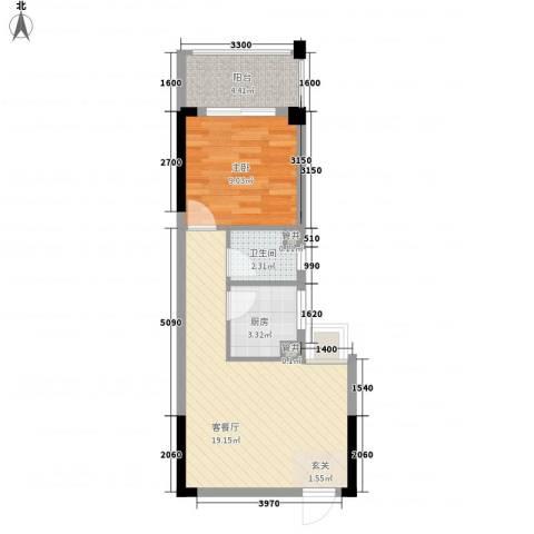 怡景苑1室1厅1卫1厨52.00㎡户型图