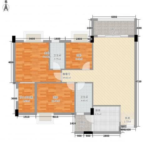 嘉豪雅苑3室1厅2卫1厨119.00㎡户型图
