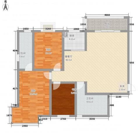 金城花园3室1厅2卫1厨150.00㎡户型图
