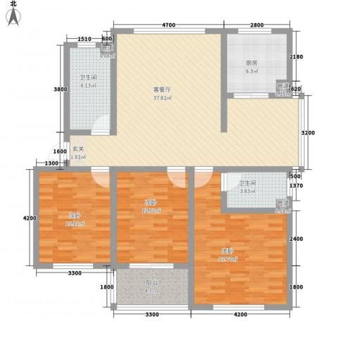 颐青园3室1厅2卫1厨131.00㎡户型图