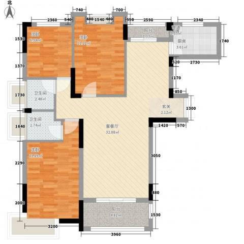 幸福时光3室1厅2卫1厨112.00㎡户型图