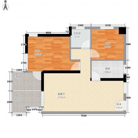 凤凰水城红树湾2室1厅1卫1厨86.00㎡户型图