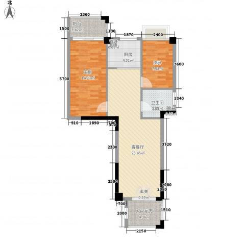 怡景苑2室1厅1卫1厨88.00㎡户型图