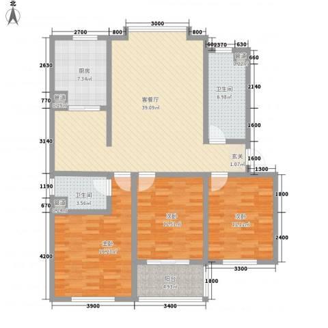 颐青园3室1厅2卫1厨123.00㎡户型图
