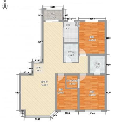 钻石礼都3室1厅2卫1厨133.00㎡户型图