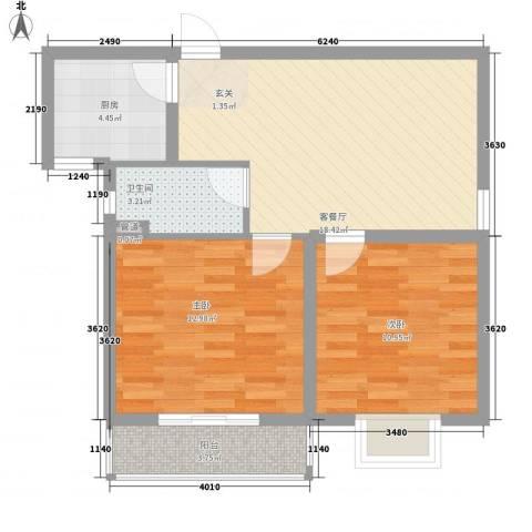 兴都公寓2室1厅1卫1厨85.00㎡户型图